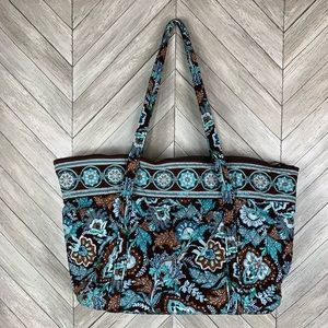 "Vera Bradley ""Java Blue"" large tote/overnight bag"
